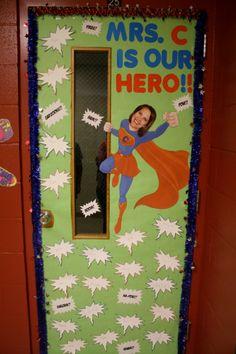 Teacher appreciation door ideas Skip To My Lou Superhero Classroom Door, Superhero Teacher, Classroom Themes, Teacher Appreciation Week, Teacher Gifts, Teacher Door Decorations, Hero Crafts, Teacher Doors, School Doors