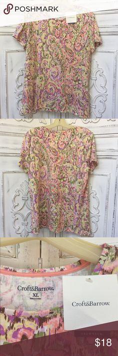 NEW Paisley Crewneck Short Sleeve Shirt 100% cotton. Size XL. Never been worn! Brand new with tags. Crewneck croft & barrow Tops Tees - Short Sleeve