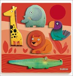Love this colorful jungle animal puzzle from Djeco Art For Kids, Crafts For Kids, Animal Puzzle, Kids Wood, Wooden Puzzles, Jungle Animals, Kids Corner, Wood Toys, Activities For Kids