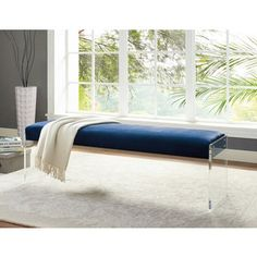 The Envy blue velvet bench will complement your contemporary chic style. The clear acrylic legs offer a dramatic look to the simple shape of the bench, while the plush seat is upholster in a soft velvet. Mid Century Modern Furniture, Contemporary Furniture, Acrylic Bench, Blue Velvet Dining Chairs, Ottoman Stool, Inside Design, Furniture Deals, Furniture Outlet, Online Furniture