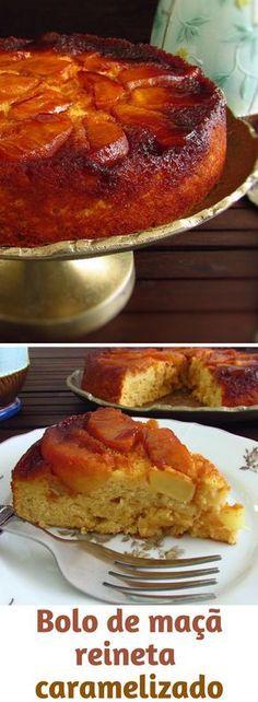 Bolo de maçã reineta caramelizado   Food From Portugal. Este bolo de maçã reineta é delicioso e é perfeito para decorar qualquer mesa, tem uma excelente apresentação e é óptimo para um dia de festa. #receita #bolo #maçã