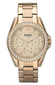4529948d2466 Fossil Riley Round Crystal Bezel Bracelet Watch Women s Watches, Luxury  Watches, Rose Gold Watches