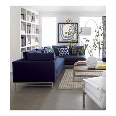 Uptown Sectional Sofa, Meryl Floor Lamp, Frame Coffee Table, Milo Chair I Crate and Barrel