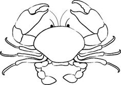 Clip Art Illustration of a Crab Coloring Page Seashell Crafts, Beach Crafts, Fish Coloring Page, Coloring Pages, Crab Clipart, Food Clipart, Stencils, Fish Art, Clipart Images