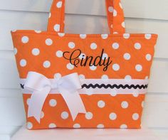 Orange Polka Dot Quilted Purse / Tote / Diaper Bag by MsSewItAll32, $35.00