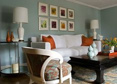 lynett perez: Angie Hranowski - Inspiration Family Room ~ I love the blue and orange! blue walls, ...