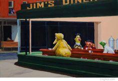 edward hopper nighthawks sesame street big bird bert ernie kermit the frog meme Edward Hopper, Sesame Street Characters, Famous Artwork, Jim Henson, Art Institute Of Chicago, Big Bird, Funny Art, Famous Artists, Les Oeuvres