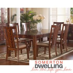 @Overstock - Somerton Dwelling Runway 7-piece Dining Set - This exciting contemporary collection represents the artistic skill of veneering, combining rich prima vera and zebrano. A warm chestnut brown satin finish in varying medium and dark brown hues complete the look.  http://www.overstock.com/Home-Garden/Somerton-Dwelling-Runway-7-piece-Dining-Set/7975123/product.html?CID=214117 $1,524.18