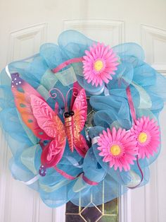 Blue and Pink Spring and Summer Butterfly by Booscraftaholic