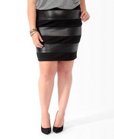 Faux Leather Panel Skirt | FOREVER21 PLUS