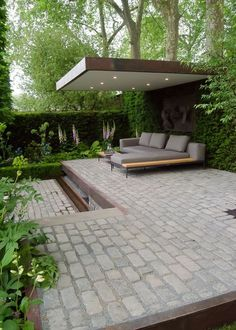 chelsea flower show 2016 Support the husqvarna garden. This modern landscaped backyard has a raised outdoor lounge deck, a wood burning firepit, succulents, bamboo and a vegetable garden. Contemporary Garden Design, Modern Landscape Design, Modern Landscaping, Landscaping Ideas, Contemporary Building, Contemporary Interior, Landscaping Software, Rustic Contemporary, Modern Patio Design
