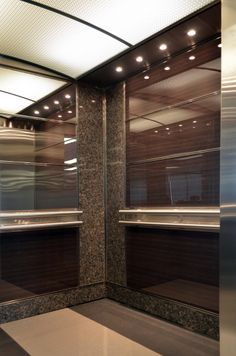 The designers at Premier Elevator worked with material specialists to create a durable ultra glossed wall covering to reflect both the natural materials along with clean modern interiors for an office complex in Toronto's Financial District. Contact a dedicated Premier associate for more info on how we can help customize your vertical commute.