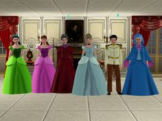 Cinderella and Other Characters - Sil Fantasy The Sims, Sims 3, Sims 4 Game Mods, Sims 4 Mods, Walt Disney Cinderella, Disney Princess, Sims 4 Cc Furniture, Disney Marvel, Bridesmaid Dresses