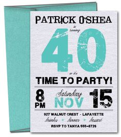Grunge Teal Time to Party Birthday #Invitations, Adult Birthday Invitations