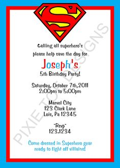 "Calling All Superheroes Invitation Luxury ""calling All Superheroes Help Save the Day Be Celebrating Superman Birthday Party, Superhero Theme Party, Boy Birthday Parties, Birthday Party Invitations, Invites, Birthday Ideas, Superman Invitations, Superman Baby Shower, Adoption Party"