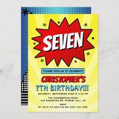 Birthday Thank You Cards, Thank You Card Size, Birthday Gifts, Comic Book Superheroes, Comic Books, Superhero Birthday Invitations, Superhero Gifts, Birthday Cartoon, Retro Pop