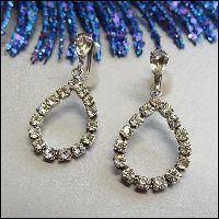 Clear Rhinestone Vintage Earrings Tear Drop Hoops 1950s Jewelry $45