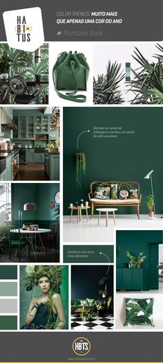 Moodboard of different ways to apply Pantone Kale which continues in vogue, a natural green Room Colors, House Colors, Colours, Estilo Tropical, Contemporary Home Furniture, Contemporary Design, Green Rooms, Green Walls, Colour Schemes