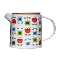 Sagaform blossom teapot, a bright fun retro vintage mid-century modern style tea pot, cermaic with floral decoration