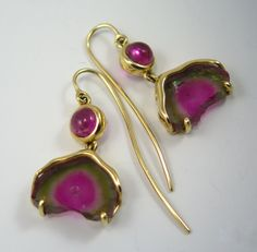 """Yellow Springs Petite,"" one of a kind watermelon tourmaline slices, rubellite, 18 kt gold lovelies by H. Kathleen Childress Designs"