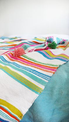 Image of Moroccan POM POM Cotton and Wool Blanket - Sripes Colors