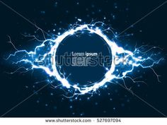 Blue glitter party poster abstract layout with circle surrounded by lightnings luxurious pattern. Vector illustration