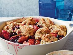 Blueberry-Peach Cobbler with Pecans | It's best to make this cobbler during the summer months when fresh blueberries and peaches are at their peak, but you can enjoy it year-round if you use frozen fruit.