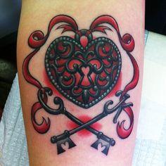 Awesome heart and keys piece by Megan Massacre  #tattoos #tattoo #ink #art #heart #keys #hookedontattoos