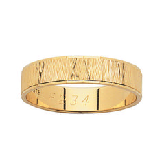 18ct Yellow Gold Gentleman's Wedder with Bark Cross Finish