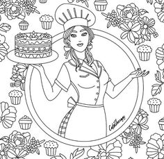 Chef Cook Cake Coloring Page