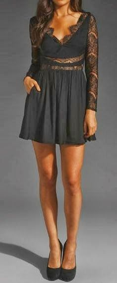 Gorgeous Lace arm Black Skirt Dress, visit us for more details