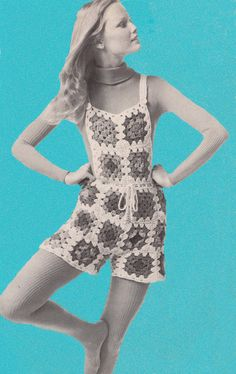 1960s VINTAGE CROCHET PATTERN- Granny Square Shorts / Boho Hip Hugger Hot Pants, Instant Download Pdf Pattern from GrannyTakesATrip Pdf 0195
