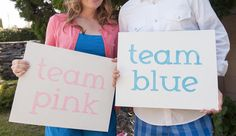 TEAM PINK or BLUE Custom Glitter Signs. Brittany we could make these with your machine Baseball Gender Reveal, Twin Gender Reveal, Gender Party, Baby Gender Reveal Party, Photography Words, Photography Ideas, Reveal Parties, New Baby Products, Baby Showers