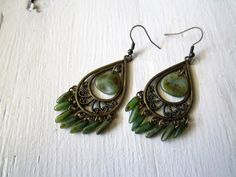 Antique Green Chandelier and Dagger Earrings by KoolKatzJewelry, $18.00