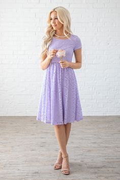 """""""Jenna"""" Modest Dress or Modest Bridesmaid Dress in Pastel Lilac or Lavender (Lig. - - """"Jenna"""" Modest Dress or Modest Bridesmaid Dress in Pastel Lilac or Lavender (Light Purple) Lace Source by Modest Homecoming Dresses, Modest Formal Dresses, Knee Length Bridesmaid Dresses, Simple Dresses, Casual Dresses, Purple Dress Casual, Formal Knee Length Dresses, Pastel Dress Formal, Purple Spring Dresses"""