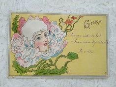 Art Nouveau, Fancy Hats, Woman Face, Lady, Vintage World Maps, Scene, Baby Born, Female Faces, Cool Hats