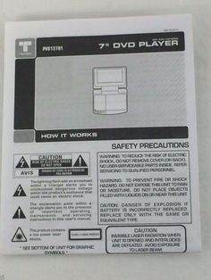 """PVS12701 7"""" DVD Player Instructions ONLY How it works Troubleshooting Safety #Trutech"""