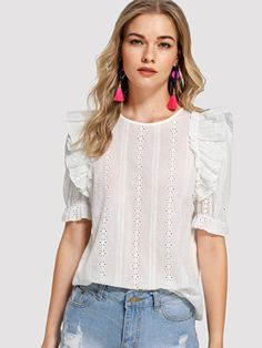 Casual Ruffle and Embroidery and Button Plain Top Regular Fit Round Neck Half Sleeve Beige Ruffle Trim Eyelet Embroidered Top Plain Tops, Spring Shirts, Ruffle Trim, Blouse Designs, Fashion Outfits, Clothes For Women, Embroidered Tops, Cycling Shorts, Top P