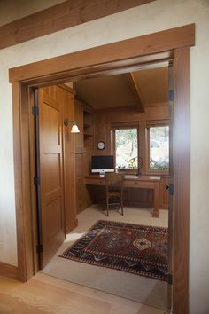 clay plaster shows off the woodwork in this beautiful contemporary craftsman office