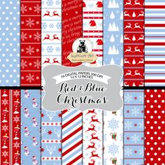 Christmas Paper - Red and Blue Christmas - Printable Paper - Instant Download - 12x12 - Christmas Decorations - Christmas Printable de LythiumArt en Etsy