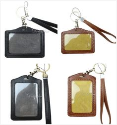 Leather Badge Wristlet LANYARD with Vertical / Horizontal ID Badge Holder