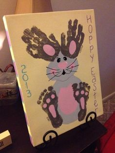 cute Easter hand/foot print art #diy #crafts #kids