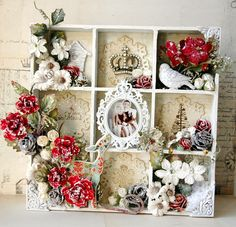 Wintery Christmas shadow box...gorgeous!