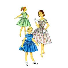 1950s Girls Full Skirt Party Dress Vintage Sewing by patternshop, $12.99
