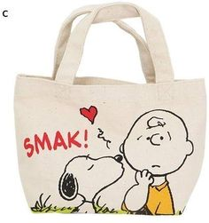 Snoopy Mini Lunch Tote Bag Type C from Japan by Aggressor Cotton Tote Bags, Reusable Tote Bags, Lunch Tote Bag, Painted Bags, Snoopy, Bag Patterns To Sew, Fabric Bags, Cloth Bags, Handmade Bags