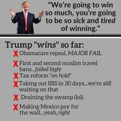 """I'm sick & tired alright but it's Not of """"winning"""" it's You Donnie Boy!"""
