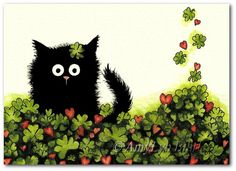 Black Cat Lucky Four Leaf Clover  Art Prints or by AmyLynBihrle, $8.99