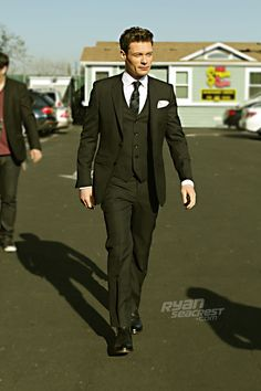 "Ryan Seacrest minutes before ""American Idol's"" March 21 episode. Suit by @Burberry, shoes by George Esquivel."