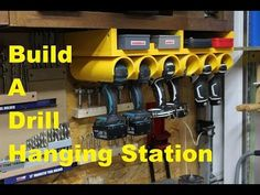 Airleds - News: In this video Andy Glass with Glass Impressions remakes his drill/driver hanging station with a few storage upgrades! See what tools and supplies I use: . Power Tool Storage, Garage Tool Storage, Workshop Storage, Workshop Organization, Garage Tools, Shed Storage, Garage Workshop, Garage Organization, Storage Rack