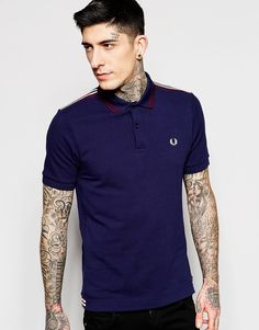 De fedeste Fred Perry Polo Shirt with Shoulder Trim Slim Fit - Carbon blue Fred Perry Plain til Herrer i fantastisk kvalitet